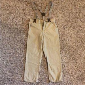 Khaki pant with suspenders